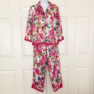 NWT Cabernet Satin Pajama Set Watercolor Floral